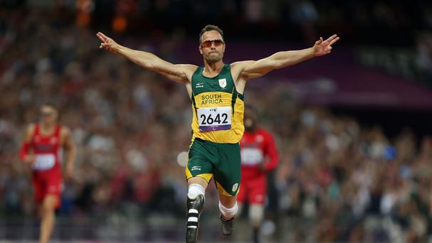 Oscar Pistorius pictured competing in the Paralympics in London