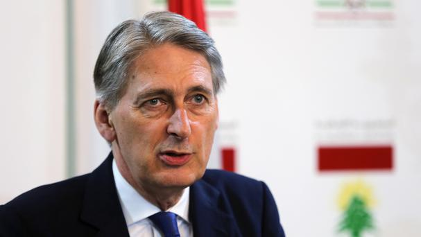 Foreign Secretary Philip Hammond speaks during a joint press conference with his Lebanese counterpart Gibran Bassil in Beirut (AP)