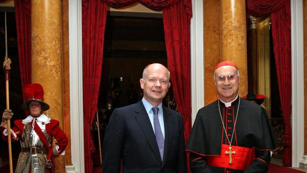 Cardinal Tarcisio Bertone, pictured during a meeting with then UK foreign secretary William Hague