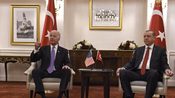 Turkish president Recep Tayyip Erdogan in Washington with US vice-president Joe Biden