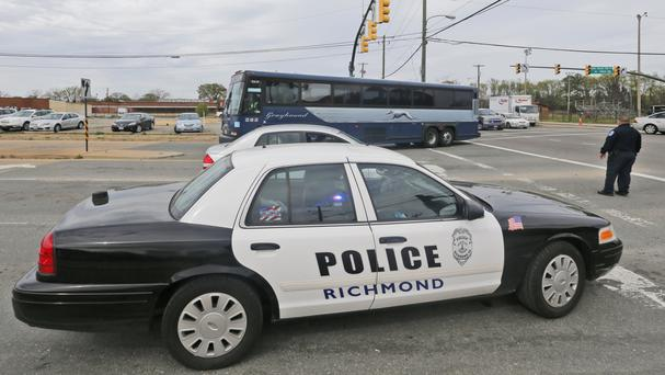 There was a major police presence at the Richmond bus station (AP)