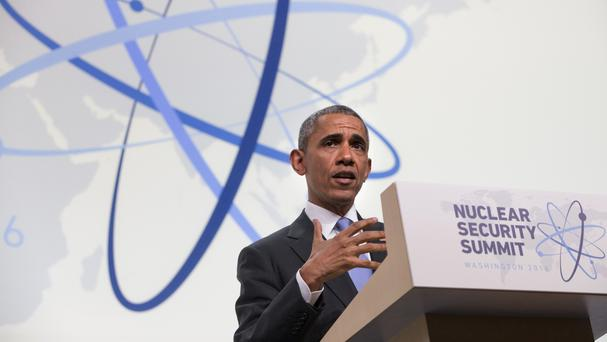 President Barack Obama at the end of the Nuclear Security Summit in Washington (AP)