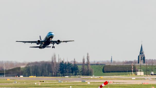 A Brussels Airlines plane takes off at Brussels Airport in Zaventem (AP)