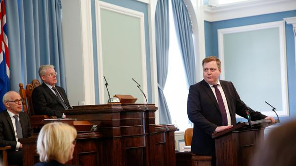 Iceland's prime minister Sigmundur David Gunnlaugsson, right, gives a statement over the Panama Papers (AP)