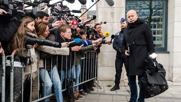 Salah Abdeslam's lawyer Sven Mary talks outside a justice building in Brussels (AP)