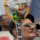 Anger: Protesters take to the streets in Rio.