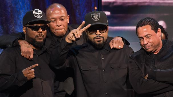 MC Ren, Dr Dre, Ice Cube and DJ Yella from N.W.A appear at the 31st Annual Rock and Roll Hall of Fame Induction Ceremony (AP)