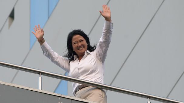 Presidential candidate Keiko Fujimori waves at supporters (AP)