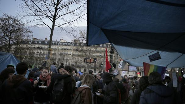 Protesters in Paris's Place de la Republique (AP)