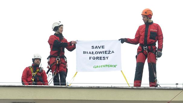 Greenpeace activists hold a banner as they stand on the roof of Poland's Environment Ministry (AP)