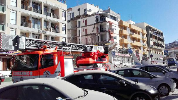 The scene after the collapse of a four-storey building in Los Cristianos, Tenerife (Canarian Weekly/PA)