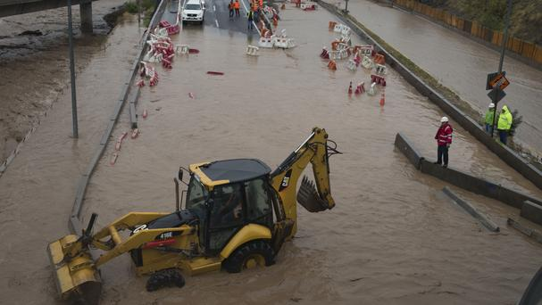 A flooded street in Santiago, Chile (AP)