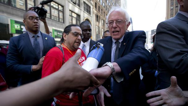 Democratic presidential candidate Bernie Sanders in Manhattan, New York (AP)
