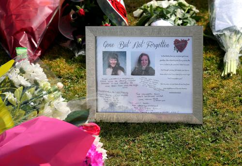 Tributes to Elizabeth Edwards and Katie outside their home
