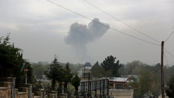 Smoke rises after a suicide attack in Kabul, Afghanistan (AP)