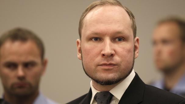 Anders Behring Breivik in court in Oslo, Norway (AP)