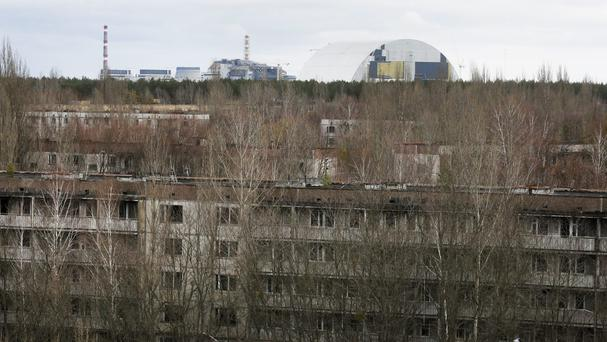 Abandoned apartment buildings in the town of Pripyat near Chernobyl, Ukraine (AP)