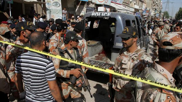 Pakistani soldiers are the scene of the attacks in Karachi (AP)