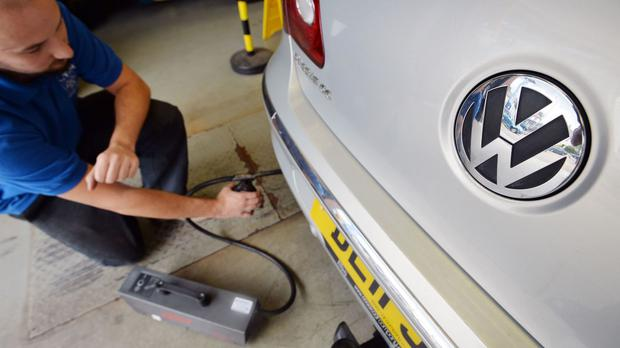 A Volkswagen Passat is tested for its exhaust emissions