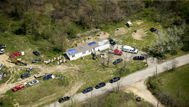 This aerial photo shows one of the locations being investigated in Pike County, Ohio, during the investigation into a multiple shooting (Lisa Marie Miller/The Columbus Dispatch/AP)