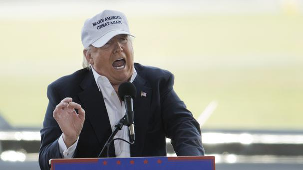Republican presidential candidate Donald Trump speaks during a campaign rally (AP)