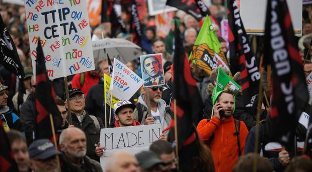 Thousands of demonstrators protest against the planned Transatlantic Trade and Investment Partnership in Hannover. Photo: AP
