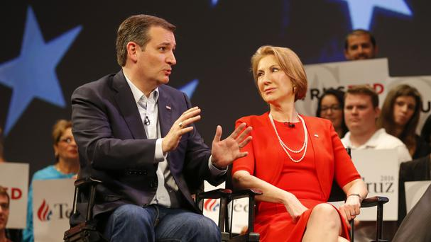 Republican presidential candidate Ted Cruz with Carly Fiorina (AP)