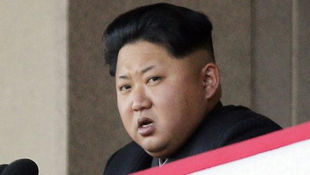 North Korean leader Kim Jong Un at a military parade in Pyongyang (AP)
