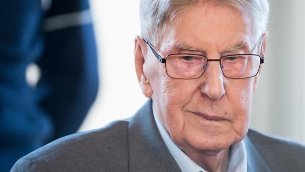 Reinhold Hanning sits in the courtroom in Detmold, Germany (Bernd Thissen/Pool Photo via AP)