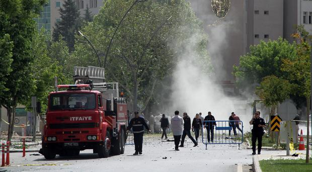 A suspected car bomb has exploded near a Turkish police station