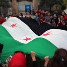 Protesters hold a Syrian revolution flag during a protest against military operations in areas held by insurgents, mostly in the northern city of Aleppo (AP)