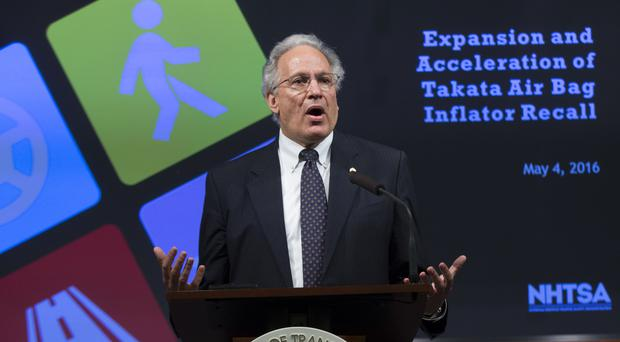 National Highway Traffic Safety Administration head Mark Rosekind announces the recalls in Washington (AP)