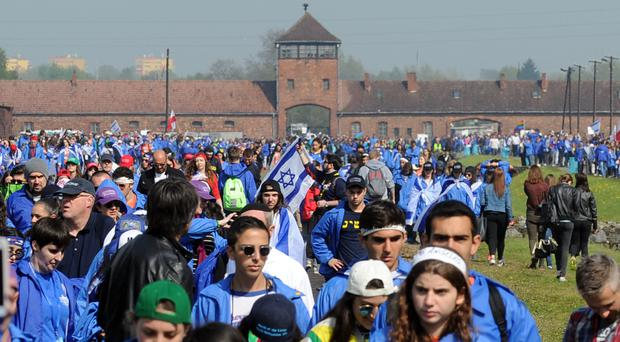 Thousands took part in the March Of The Living memorial event at Auschwitz (AP)