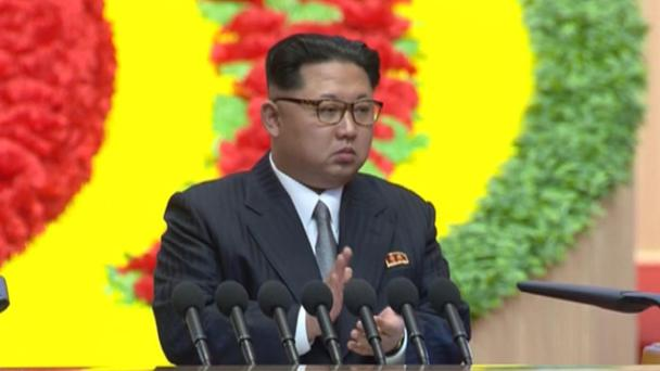 Kim Jong Un applauds during the congress in Pyongyang (KRT/AP)