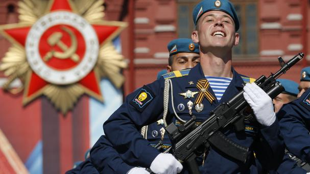 Russian soldiers march during the Victory Day parade (AP)