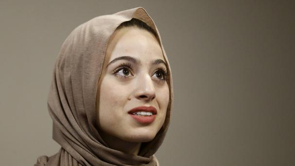Bayan Zehlif, 17, speaks during a news conference in California after she was wrongly identified as