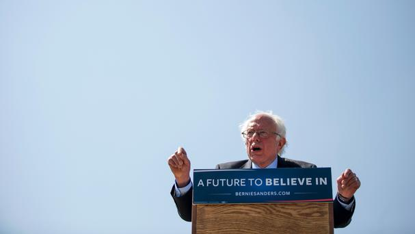 Democratic presidential candidate Bernie Sanders speaks during a campaign stop in Rapid City (AP)