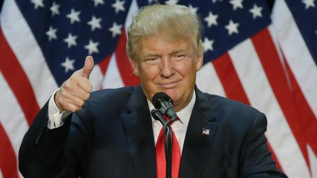 Thumbs up from victorious Republican presidential hopeful Donald Trump (AP)