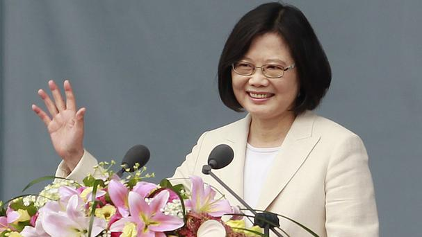 President Tsai Ing-wen delivers her acceptance speech during her inauguration ceremony in Taipei (AP)
