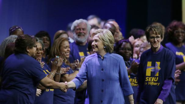 Democratic presidential candidate Hillary Clinton meets with Service Employees International Union members (AP)