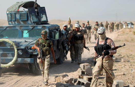 Iraqi pro-government forces gather as they advance towards the city of Fallujah. Photo: Reuters