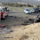 The wreckage of the destroyed vehicle in which Mullah Akhtar Mansour was allegedly travelling when he was killed in a US drone strike (Abdul Malik/AP)