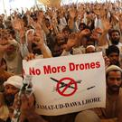 Supporters of Pakistani religious group Jamaat-ud-Dawa protest against the US drone strike (AP)