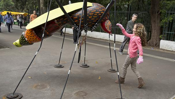 A mosquito sculpture created by artist Andre Farkas in Sao Paulo, Brazil, to help raise awareness of the spread of the Zika virus (AP)