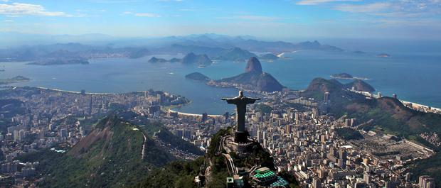 Rio de Janeiro, with the statue of Christ the Redeemer looking out to sea