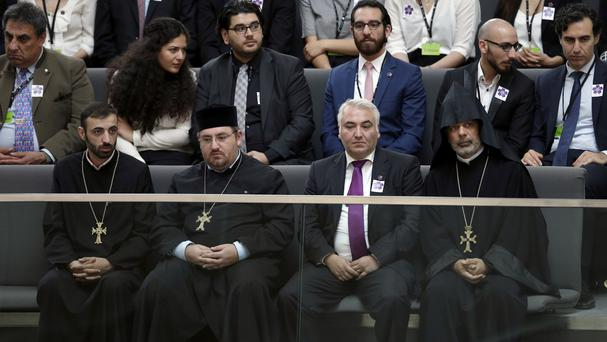 Representatives of the Christian Church of Armenia attend a meeting of the German Federal Parliament in Berlin (AP)