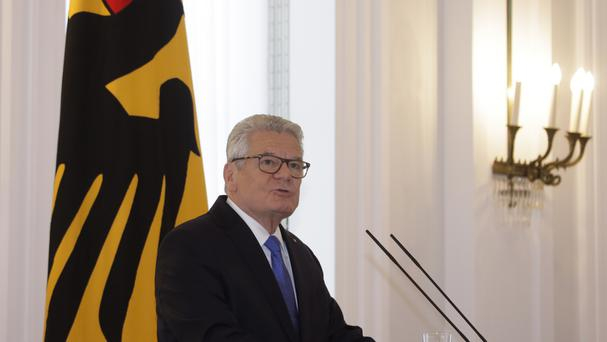German president Joachim Gauck announces in a statement at his residence Bellevue Palace that he will not run for a second term (AP)