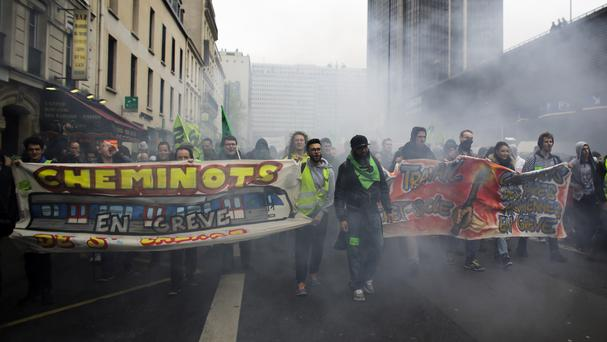 Rail union members during a protest in Paris (AP)