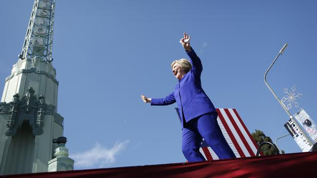Democratic presidential candidate Hillary Clinton speaking at a rally in Los Angeles (AP)