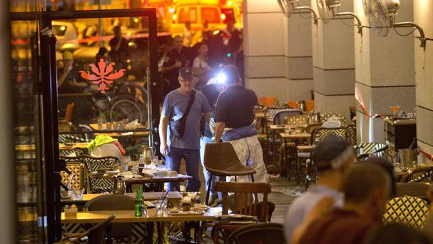 The scene of a shooting attack in Tel Aviv in which two Palestinian gunmen opened fire and killed four people (AP)